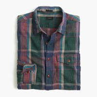 J.Crew Slim Heathered Slub Cotton Shirt In Green Plaid