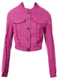 Yang Li Button Down Fitted Jacket Pink And Purple