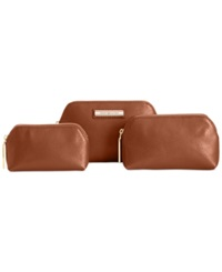 Tommy Hilfiger Th Signature Coin 3 In 1 Textured Leather Dome Cosmetics Case Cognac