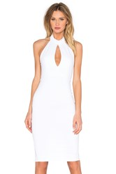 Donna Mizani Keyhole Mock Neck Midi Dress White