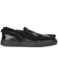 Maison Martin Margiela Mm6 Faux Fur Slippers Black