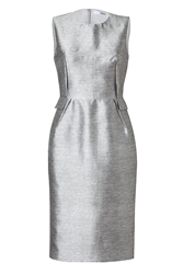 Prabal Gurung Silk Cotton Darted Sheath Dress In Heather Grey