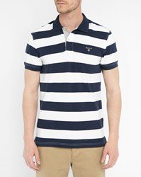 Gant Navy Striped Polo Shirt Blue
