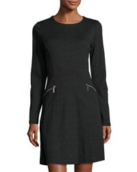 Michael Michael Kors Houndstooth Zip Pocket A Line Dress Black