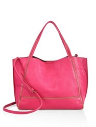 Botkier New York Soho Bite Size Zipper Trimmed Leather Tote Beet Pink