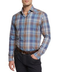 Ermenegildo Zegna Extra Large Plaid Sport Shirt Blue