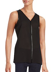 Saks Fifth Avenue Black Faux Leather Trimmed Top Black
