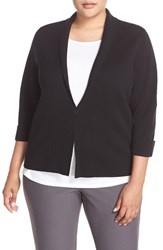 Eileen Fisher Plus Size Women's Silk And Organic Cotton Sweater Jacket Black