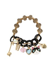 Betsey Johnson Cat And Fish Multi Charm Half Stretch Bracelet White