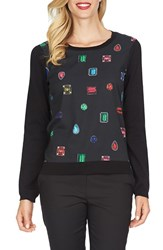 Women's Cece By Cynthia Steffe 'Tossed Gems' Mixed Media Sweater