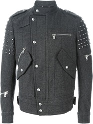 Diesel Black Gold Studded Biker Jacket Grey