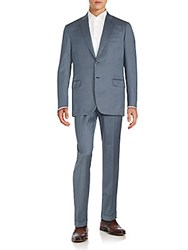 Brioni Regular Fit Wool And Silk Suit Sky Blue