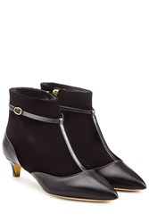 Rupert Sanderson Leather And Stretch Fabric Dawn Booties Black