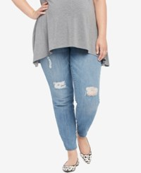Motherhood Maternity Plus Size Medium Wash Distressed Skinny Jeans True Blue Medium Was