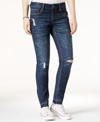 Dollhouse Juniors' Paint Splatter Ripped Skinny Jeans Dark Wash