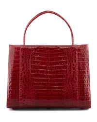 Nancy Gonzalez A Frame Expandable Crocodile Tote Bag Red