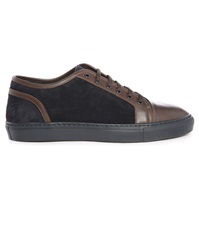 Armani Collezioni Brown Midnight Blue Grained Leather Suede Dual Fabric Sneakers