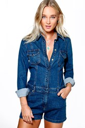 Boohoo Long Sleeve Button Through Denim Playsuit Mid Blue