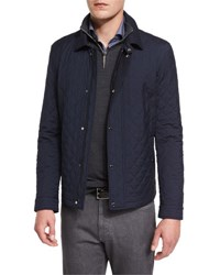 Ermenegildo Zegna Quilted Wool Blend Field Jacket Navy
