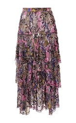 Rodarte Hand Beaded Silk Tiered Skirt Fuchsia