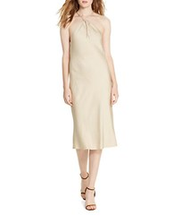 Polo Ralph Lauren Satin Crepe Dress Natural Brown