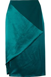 Dion Lee Wrap Effect Asymmetric Silk Satin Skirt Green