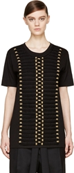 Balmain Black And Gold Rope Embroidered T Shirt