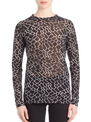 Proenza Schouler Long Sleeve Printed Cotton Jersey Tissue Tee Black White