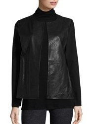 Eileen Fisher Leather Front Jacket