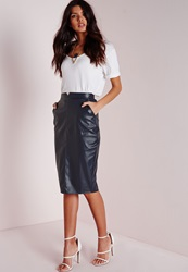 Missguided Back Split Faux Leather Midi Skirt Navy Blue