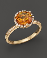 Bloomingdale's Citrine And Diamond Halo Ring In 14K Yellow Gold Orange Gold