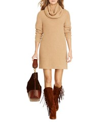 Polo Ralph Lauren Wool And Cashmere Oversized Cowlneck Dress Camel