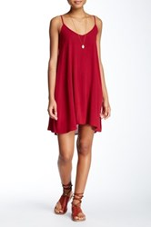 Living Doll Woven Solid Slip Dress Red