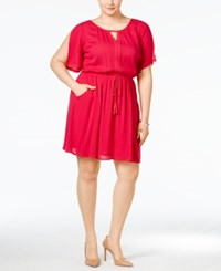 Love Squared Plus Size Lace Drawstring Dress Magenta