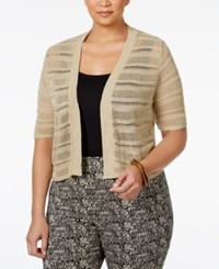 Ny Collection Plus Size Shadow Striped Cropped Cardigan Stone