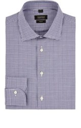 Barneys New York Men's Checked Cotton Dress Shirt Blue