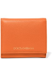 Dolce And Gabbana Textured Leather Wallet Orange