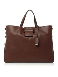 Marella Falange Leather Work Tote Brown