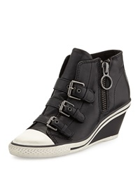 Ash Gin Bis Buckled Leather Wedge Sneaker Black