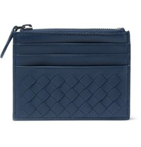 Bottega Veneta Intrecciato Leather Cardholder Blue