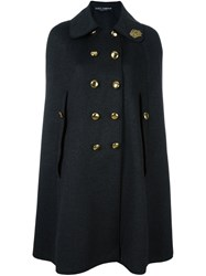 Dolce And Gabbana Crown Applique Cape Coat Grey