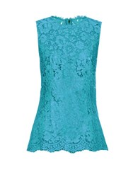 Dolce And Gabbana Corded Lace Sleeveless Top Green
