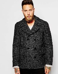 Ps By Paul Smith Peacoat In Boucle Wool Black