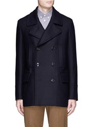 Paul Smith Double Breasted Hopsack Peacoat Blue