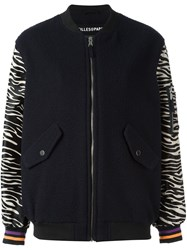 Filles A Papa Zebra Print Sleeves Bomber Jacket Blue