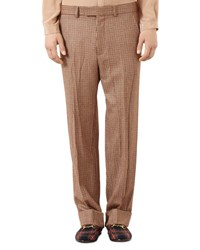 Gucci Houndstooth Tailored Pants Brown