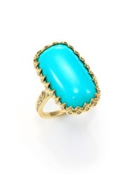 Ila Macey Turquoise Diamond And 14K Yellow Gold Rectangle Cabochon Ring Gold Turquoise