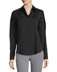 Donna Karan Open Sleeve Collared Blouse Black