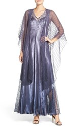 Komarov Women's Mixed Media Gown And Shawl