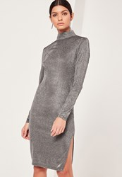 Missguided Glitter High Neck Mini Dress Silver